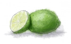 Lime illustration for margarita and corn fritter recipe