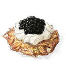 Rosti with caviar and sour cream for canapé core recipes