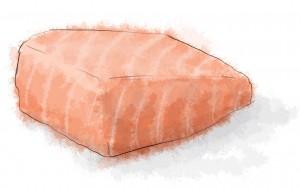 Salmon with mustard cream sauce and leeks