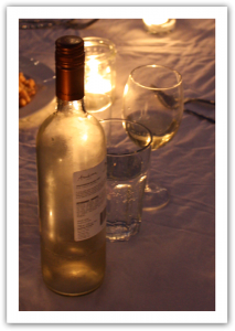 White wine and glasses