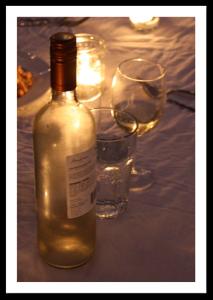 White wine and glasses
