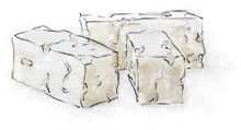 Feta illustration for greek salad with orzo recipe