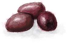 Kalamata Olives illustration for Greek salad tart recipe