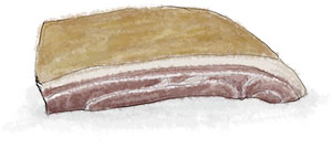 Illustrated pancetta for carbonara recipe