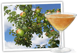 Recipe illustration for cheese and apple tart with apple martini