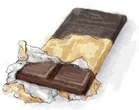 Bar Of Chocolate Illustration for phyllo chocolate parcels recipe