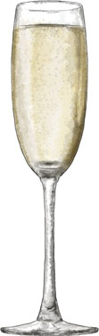 Champagne illustration for easy steak and spinach ecipe