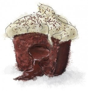 Recipe illustration for chocolate cupcake with molten truffle core