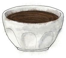 Chocolate pot illustration for Parisian chocolate pot recipe