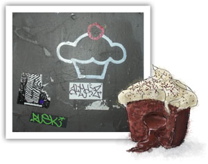 Recipe illustration for molten truffle cupcakes