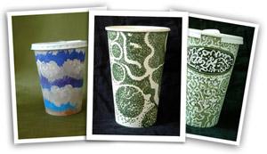 Illustrated cups by Gwyneth Leech
