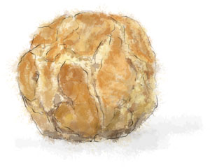 Recipe illustration for cheese gougeres