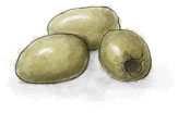 Olives illustration for cinq et sept recipes