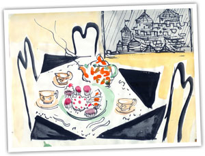 Strawberry Cream Tea by Louise Leech, Watercolour and Ink, 1967
