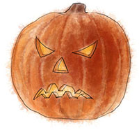 Angry pumpkin illustration for easy hallowe'en recipe ideas