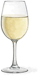 White wine illustration for easy roast chicken with oranges recipe