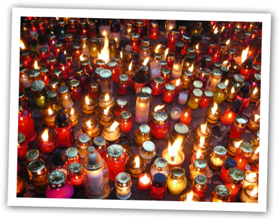 All Souls candles in Warsaw for Potato Rosti Recipe