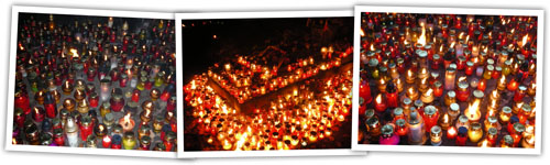 Photos of Warsaw candles for All Souls