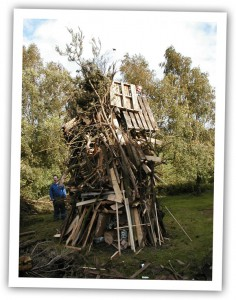 Building a bonfire photo for bonfire night Guy Fawks chili recipe