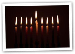 Hanukkah candles to illustrate an apple pierogi recipe