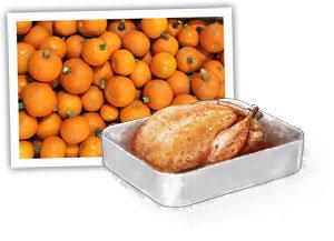 Pumpkins and turkey