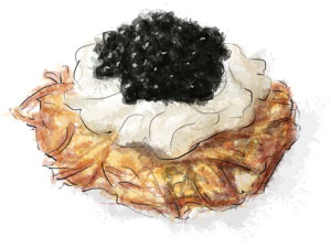 Potato rosti, sour cream and caviar illustration for rosti recipe