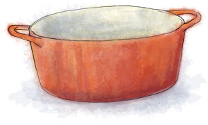 Stew pan illustration for bonfire night chili recipe