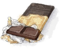 Bar Of Chocolate Illustration for millionaire shortbread recipe
