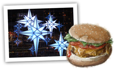 Cheeseburger illustration and the Columbus circle lights