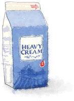 Illustration of cream for easy panettone bread pudding recipe