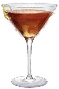 An illustration of a Manhattan for a Manhattan cocktail recipe