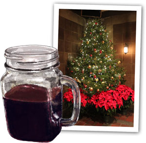 Mulled Wine Illustration and a Christmas tree for mulled wine recipe