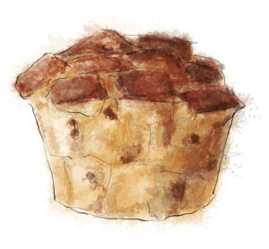 Illustration of a panettone bread pudding