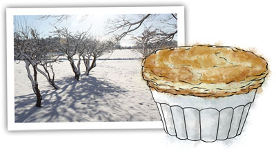 Pot pie and snow to illustrate chicken pot pie recipe