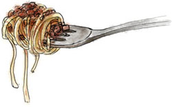 Ragu illustration on a fork