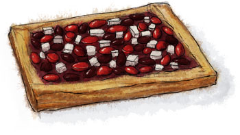 Greek salad tart illustration for savoury pastry recipe