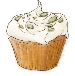 Rose and pistachio cupcake illustration for epiphany cupcake recipe