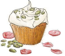 Pistachio cupcake illustration for how to bake a cake