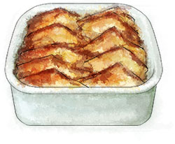 Bread And Butter Pudding illustration for anti-Valentines comfort food recipe