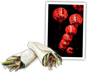 Chinese New Year Illustrations for Duck and Pancakes recipe