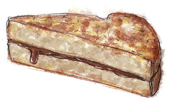 Nutella French toast illustration for Valentines Breakfast in Bed recipes