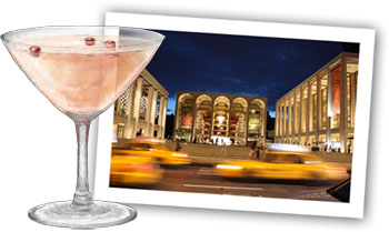 Lincoln Center and a cocktail illustration for the perfect easy Oscar Cocktail party plan