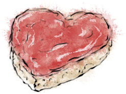 Love Toast illustration for breakfast in bed Valentines recipe ideas
