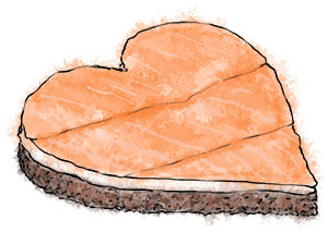 Salmon heart on bread illustration for Valentines recipe ideas