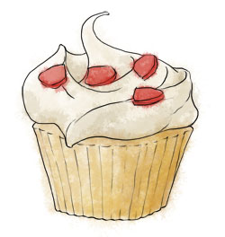 Strawberry Cupcake Illustration for valentines day recipes