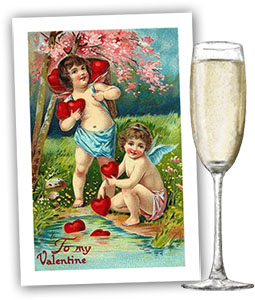 Vintage Valentines card and champagne for Valentines day