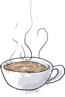 Coffee illustration for diner buttermilk pancake recipes