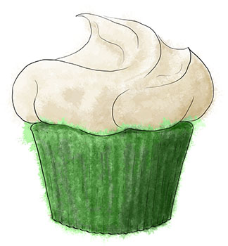 Green Velvet Cake illustration for a St Patrick's Day cupcake recipe