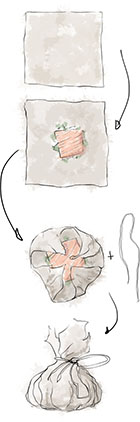 How To Make A Parchment Parcel illustration for salmon en papilotte recipe