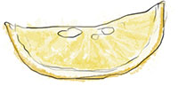 Slice of lemon illustration for mayonnaise and potato recipes